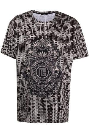 Balmain Men T-shirts - Monogram-print crest T-shirt