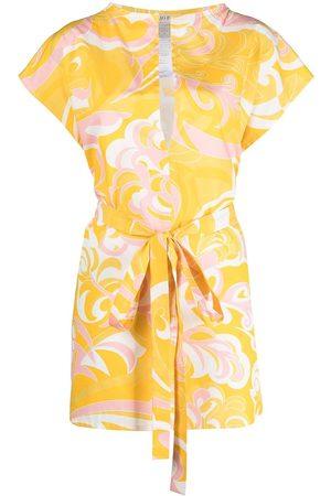 Emilio Pucci Women Printed Dresses - Albizia print tied beach dress