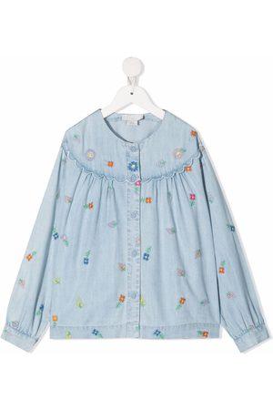 Stella McCartney Floral-embroidered denim shirt
