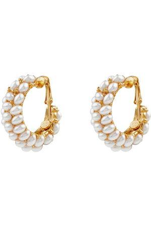 Kenneth Jay Lane Women Earrings - Pearl-cluster clip-on hoop earrings