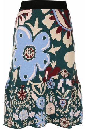 La DoubleJ Floral-print knitted skirt