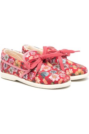 PèPè Girls Loafers - Floral print bow-embellished loafers