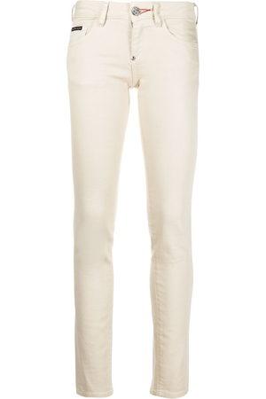 Philipp Plein Women Leggings - Iconic slim-fit denim leggings - Neutrals