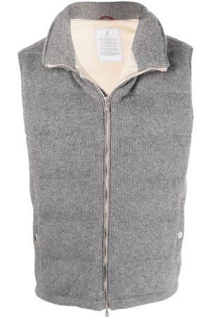 Brunello Cucinelli Men Gilets - Cashmere padded gilet - Grey