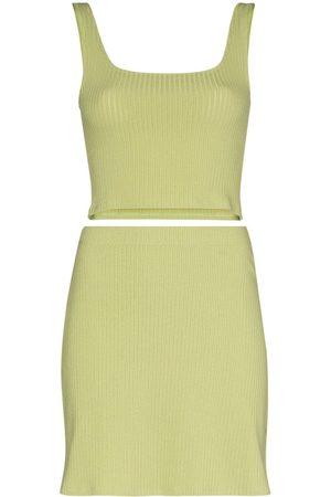 Reformation Women Crop Tops - Julianna ribbed crop top and skirt set