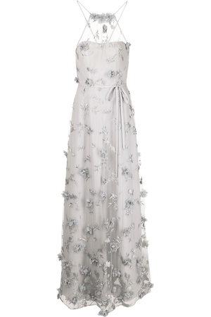 Marchesa Notte Floral-embroidered halterneck gown - Grey