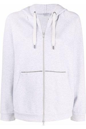 Brunello Cucinelli Long-sleeve drawstring hoodie - Grey