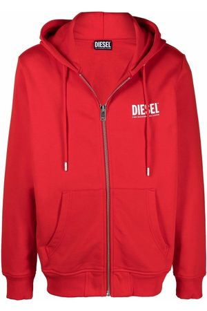 Diesel Men Hoodies - Green Label logo zip-up hoodie