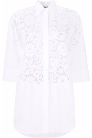 VALENTINO Lace-panel shirt