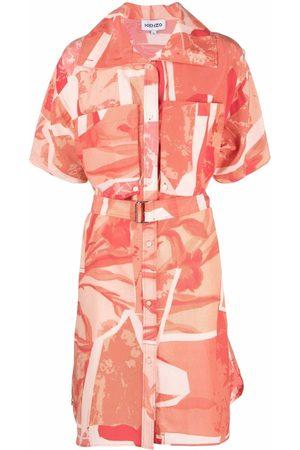 Kenzo Cut-Out Flowers-print shirt dress