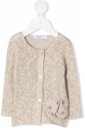 OPILILAI Contrasting-pocket knitted cardigan - Neutrals