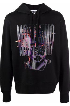Moschino Men Hoodies - Warped Glitch Artworks logo print hoodie