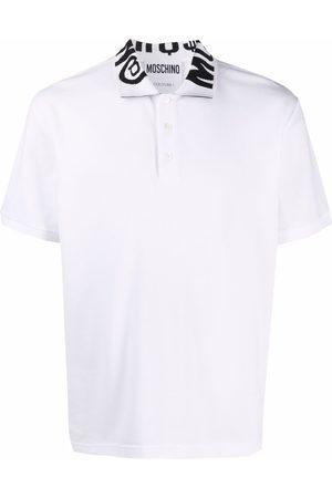 Moschino Men Polo Shirts - Knitted logo collar short-sleeve polo shirt