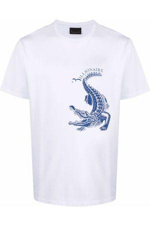 BILLIONAIRE Crocodile-print short-sleeve T-shirt