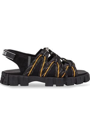 Fendi Men Sandals - Force leather and mesh sandals