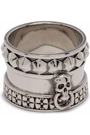 Alexander McQueen Men Rings - Skull-engraved thick ring