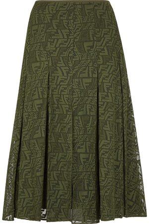 Fendi FF-embroidered pleated skirt