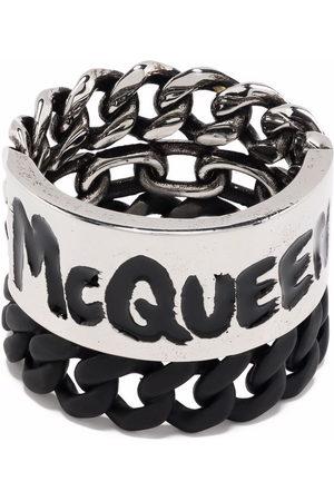 Alexander McQueen Men Rings - Graffiti curb chain ring