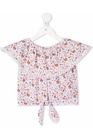 LA STUPENDERIA Floral-print cropped blouse