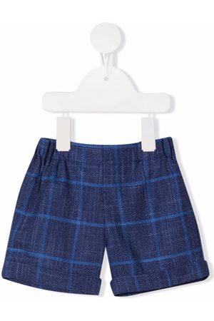 LA STUPENDERIA Shorts - Grid-print chambray shorts
