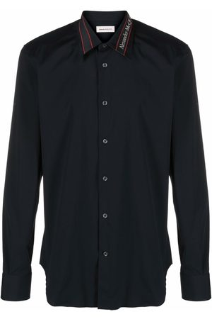 Alexander McQueen Men Long sleeves - Logo-tape long-sleeve shirt