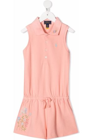 Ralph Lauren Girls Polo Shirts - Floral-embroidered polo jumpsuit