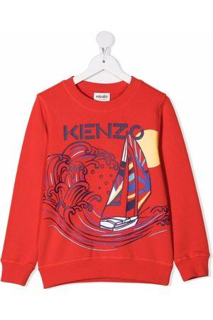 Kenzo Boys Hoodies - Boat-print cotton sweatshirt
