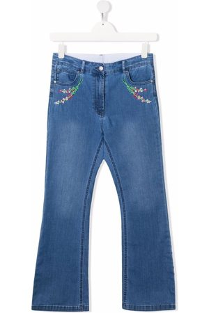 Stella McCartney Girls Flares - Floral-embroidered flared jeans