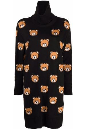 Moschino Embroidered-Teddy roll-neck dress