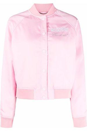 Moschino Embellished-logo bomber jacket