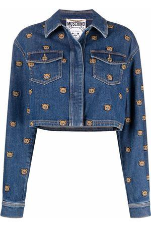 Moschino Teddy Bear embroidered denim jacket