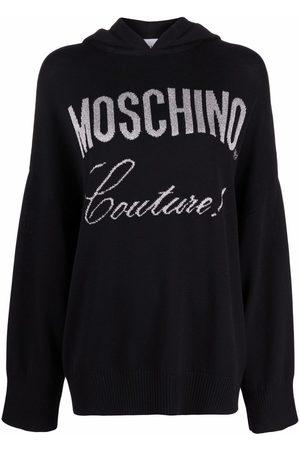 Moschino Intarsia logo knitted hoodie