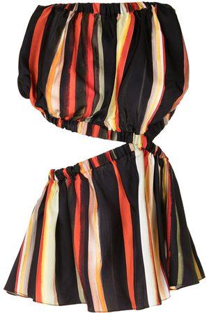 CHRISTOPHER ESBER Stripe-print backless silk top - Multicolour