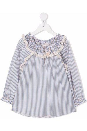 ZIMMERMANN Girls Blouses - Ruffle-collar striped blouse - Neutrals