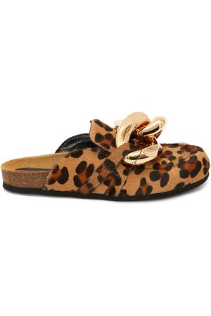 J.W.Anderson Women Loafers - Chain Loafer leopard print mules