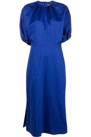 Colville Puff-sleeve pleated midi dress