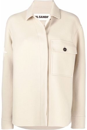 Jil Sander Flocked-logo shirt jacket - Neutrals