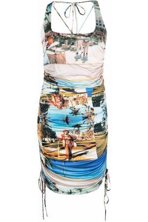 ESTEBAN CORTAZAR X Desigual patch-work print fitted dress - Neutrals