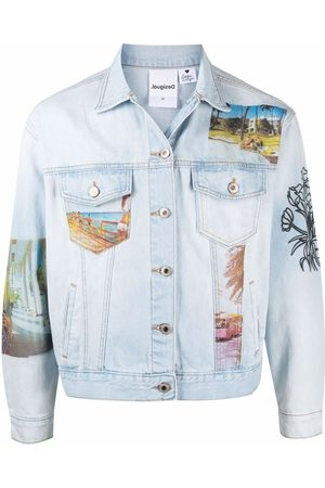 ESTEBAN CORTAZAR Denim Jackets - X Desigual South Beach-print denim jacket