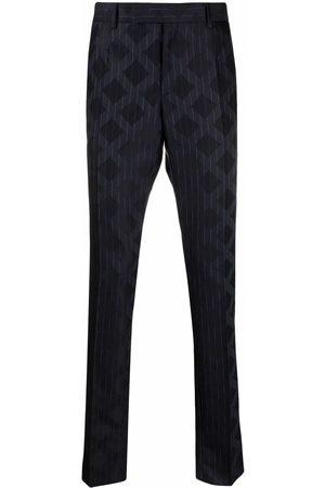 VERSACE Rhombus-pattern pinstripe wool trousers