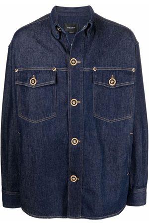 VERSACE Men Denim Jackets - Medusa-button denim jacket
