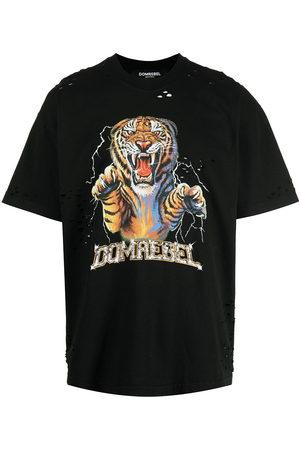 DOMREBEL Distressed tiger logo-print T-shirt