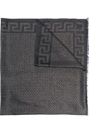 VERSACE Greca-pattern fringed-edge silk scarf