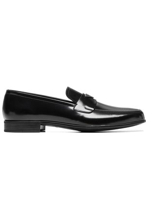 Prada Men Loafers - Triangle-logo brushed loafers