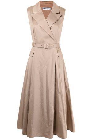 Self-Portrait Sleeveless tailored midi dress - Neutrals