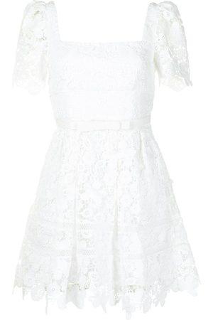Self-Portrait Floral-embroidered mini dress