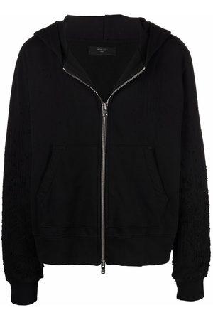 AMIRI Men Hoodies - Shotgun embroidered ripped-detail hoodie