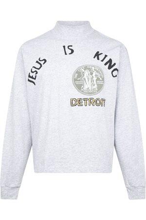 Kanye West Men Long Sleeve - Jesus Is King' Detroit seal long-sleeve T-shirt - Grey