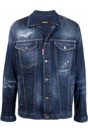 Dsquared2 Men Denim Jackets - Ripped-detailing denim jacket