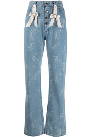 Seen Users Bow-detail printed high-waist jeans